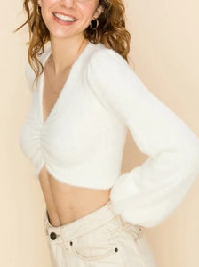 Fuzzy Lantern Sleeve Cropped Sweater