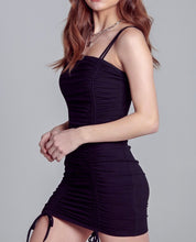 Load image into Gallery viewer, Black Ruched Tie Mini Dress