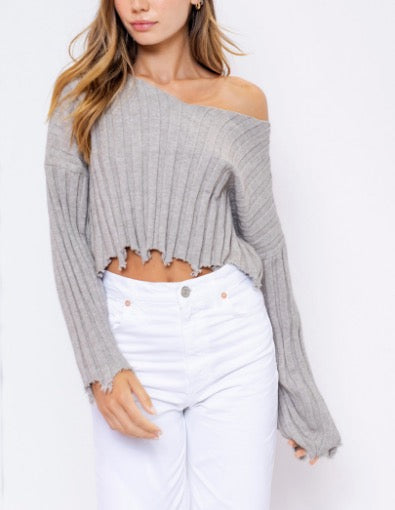 Long Sleeve Rib V Neck Distressed Cropped Sweater