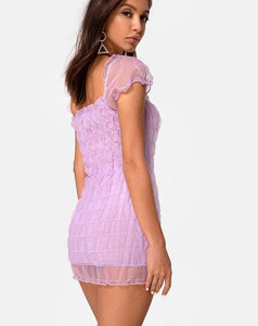 Smocked Sheer Overlay Mini Dress