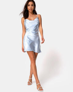 Satin Tie Waist Cowl Neck Mini Dress