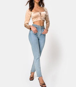 Long Sleeve Peasant Tie Crop Top