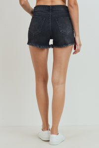 Washed Fray Hem High Wasit Jean Shorts