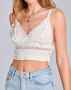 Lace Embroidered Smocked Back Bralette