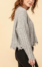 Load image into Gallery viewer, Crew Neck Distressed Hem Drop Shoulder Rib Knit Sweater
