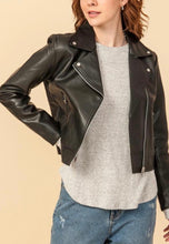 Load image into Gallery viewer, Faux Eco Leather Biker Jacket