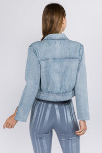 Puff Denim Jacket With Slit Detail Sleeves