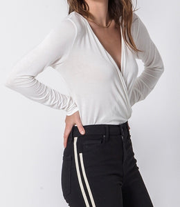 V Neck Cross Front Longsleeve Bodysuit