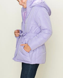Puffer Double Pocket Waist Tie Hooded Jacket