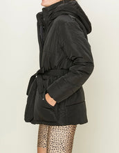 Load image into Gallery viewer, Puffer Double Pocket Waist Tie Hooded Jacket