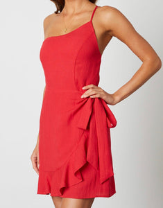 One Shoulder Faux Wrap Ruffle Hem Dress