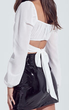 Load image into Gallery viewer, Chiffon Bubble Shoulder Long Sleeve Back Tie Crop Top