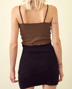 Drawstring Tie Ruched Tie Ruffle Hem Crop Top