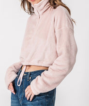 Load image into Gallery viewer, Quarter Zip Drawstring Toggle Drop Shoulder Long Sleeve Mock Neck Teddy Fleece Cropped Sweatshirt