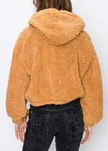 Load image into Gallery viewer, Cropped Drop Shoulder Zipper Hooded Teddy Coat