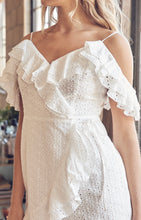 Load image into Gallery viewer, Eyelet Ruffle Faux Wrap Mini Dress