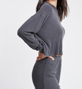 Raw Edge Long Sleeve Dropped Shoulder Waffle Top