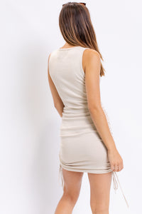 Sleeveless Ruched Side Knit Mini Dress
