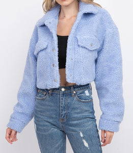 Collared Cropped Teddy Jacket