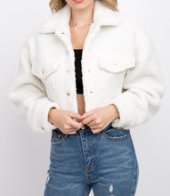 Load image into Gallery viewer, Collared Cropped Teddy Jacket