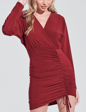 Load image into Gallery viewer, V Neck Ruched Front Side Tie Batwing Long Sleeve Mini Dress
