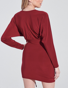 V Neck Ruched Front Side Tie Batwing Long Sleeve Mini Dress