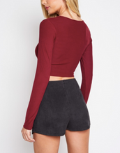 Load image into Gallery viewer, V Neck Ruch Tie Long Sleeve Crop Top