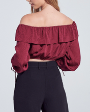 Load image into Gallery viewer, Off The Shoulder Ruffle Flower Detail Flounce Tie Shoulder Crop Top