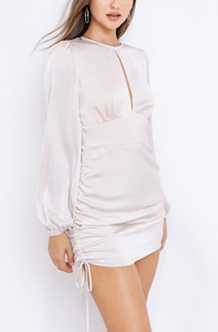 Satin Long Sleeve Key Hole Side Ruch Mini Dress