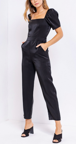 Satin Puff Short Sleeve Jumpsuit
