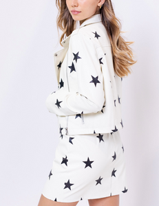 Printed Star Faux Eco Leather Biker Jacket