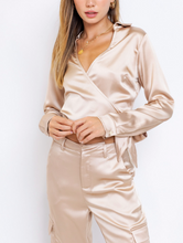 Load image into Gallery viewer, Satin Long Sleeve Wrap Crop Top