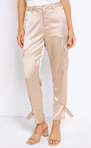 Satin High Rise Cargo Pants