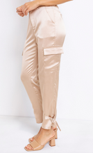 Load image into Gallery viewer, Satin High Rise Cargo Pants