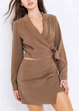 Load image into Gallery viewer, Long Sleeve Blazer Collared Wrap Top