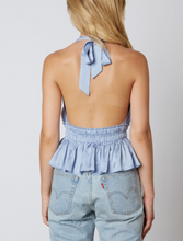Load image into Gallery viewer, Satin Halter Peplum Crop Top