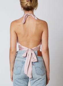 Satin Halter Tie Back Crop Top