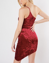 Load image into Gallery viewer, Crushed Velvet One Shoulder Asymmetrical Dress