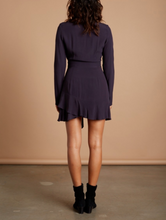 Load image into Gallery viewer, Long Sleeve Ruffle Hem Tie Front Mini Dress