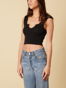 Ribbed UNeck Cut Cropped Tank Top
