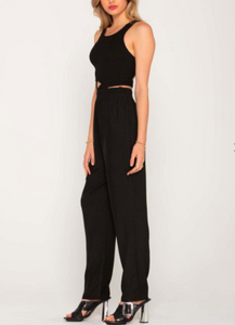 Smocked High Neck Open Back Cut Out Jumpsuit