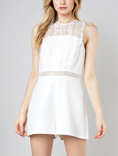 Lace High Neck Romper