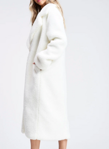 Notched Collar Teddy Maxi Coat