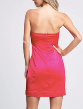 Load image into Gallery viewer, Stretch Satin Strapless Mini Dress