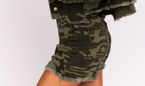 Camo Distressed High Waist Shorts
