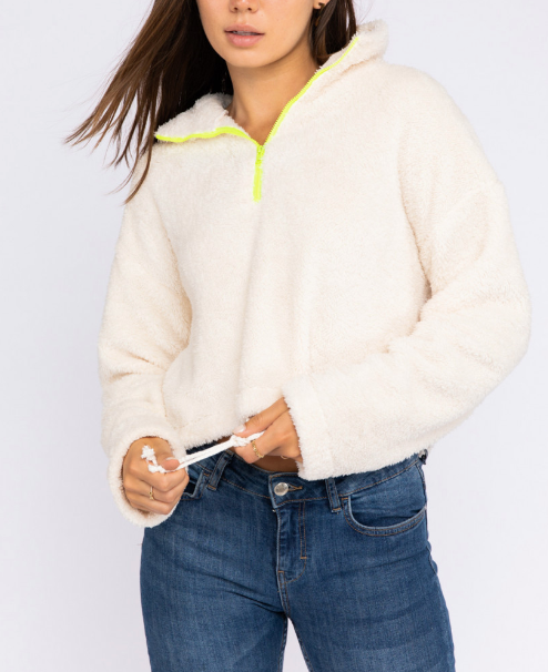 Teddy Fleece Quarter Neon Zip Cropped Sweatshirt