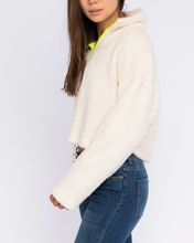 Load image into Gallery viewer, Teddy Fleece Quarter Neon Zip Cropped Sweatshirt