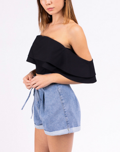 Ruffle Off The Shoulder Crop Top
