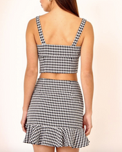Load image into Gallery viewer, Gingham Print Button Tortoise Front Stretch Crop Top