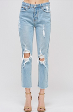 Load image into Gallery viewer, Distressed High Waist Straight Leg Fray Hem Cropped Jeans